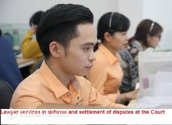 Lawyer services participating in defense and settlement of disputes at the Court